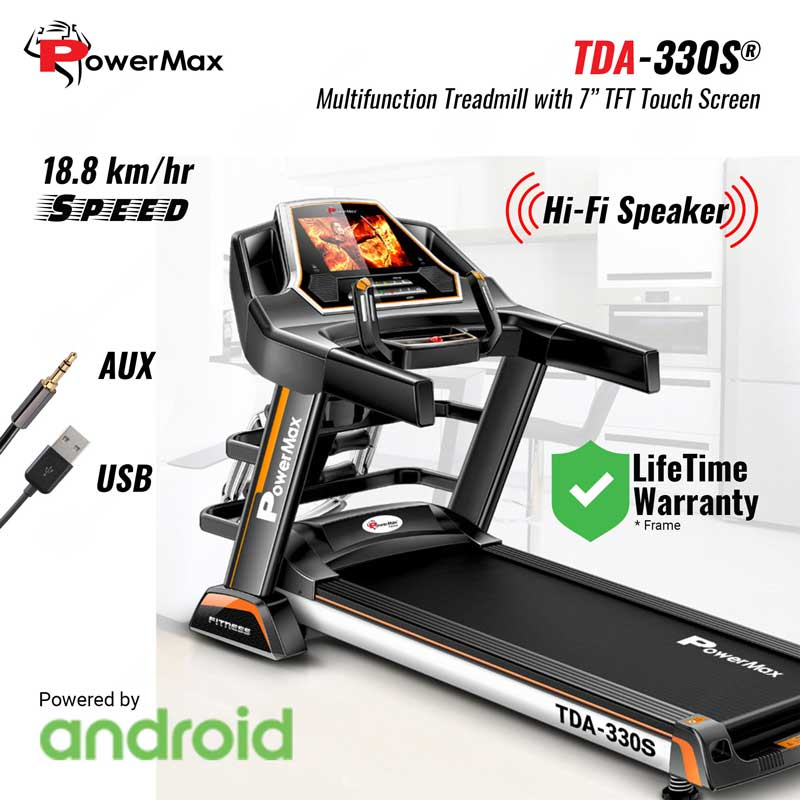 "TDA-330S Multifunction Treadmill with 7"" Color TFT Touch Screen powered by Android OS"
