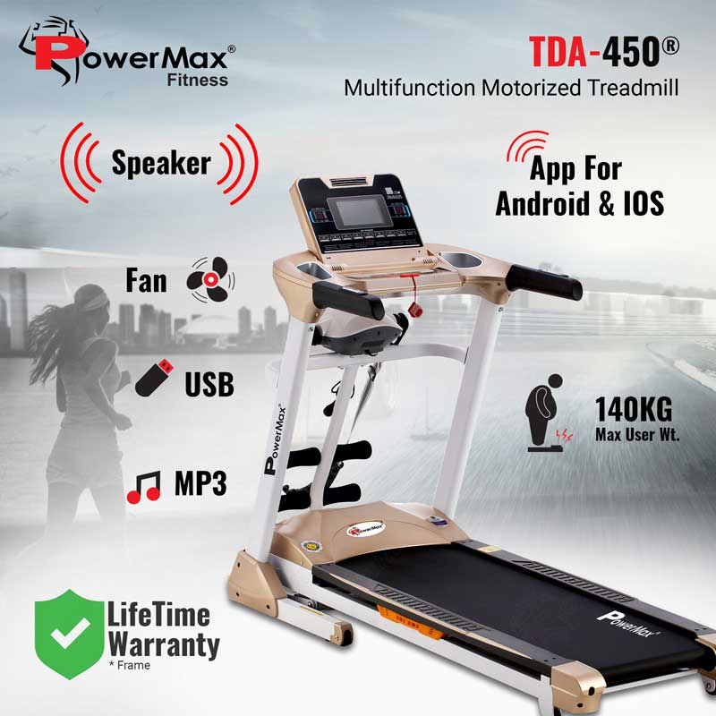 Multifunction Motorised Treadmill with Top speed 18.8km/hr