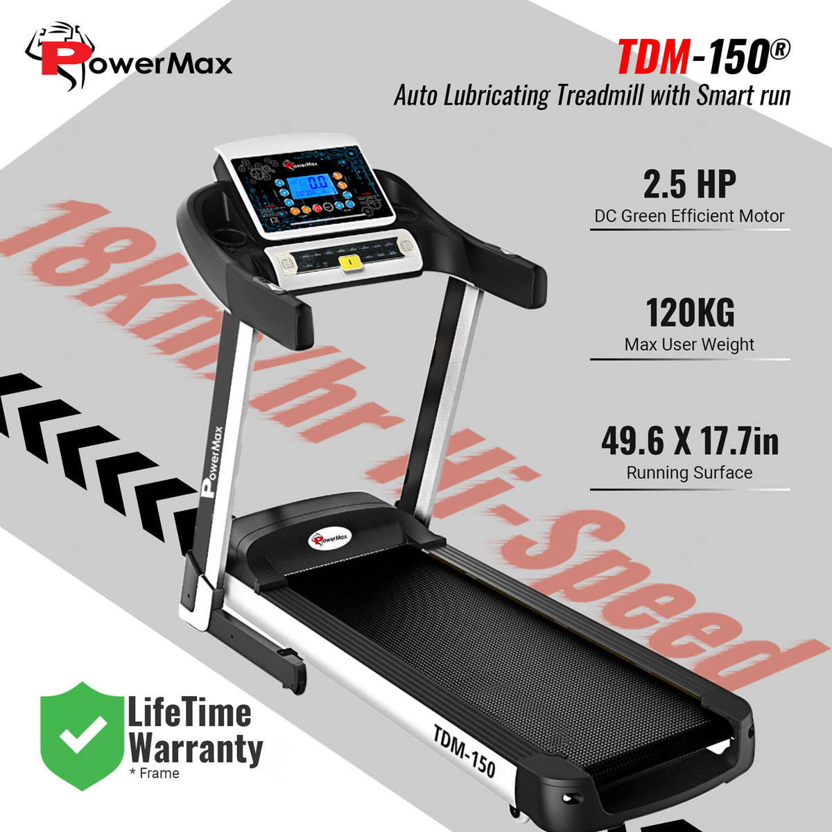TDM-150® Auto Lubricating Treadmill with Smart Run Function