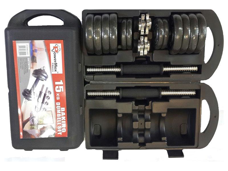 PDS-15Kg Dumbbells Set Metal Plates + Dumbbell Rods Home Gym