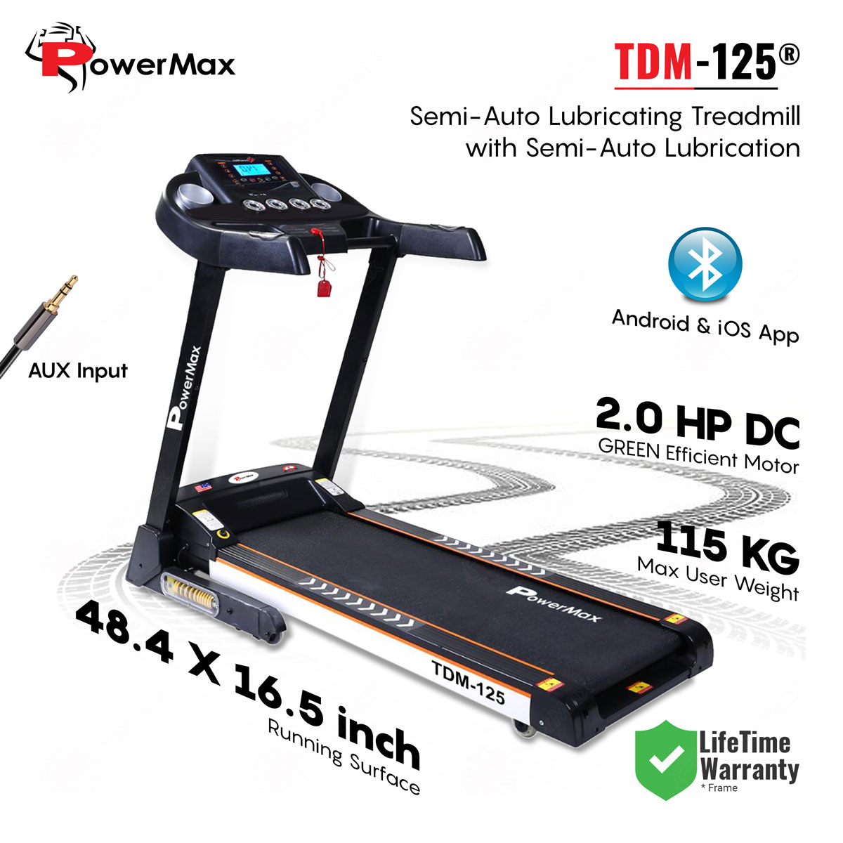 TDM-125 Semi-Auto Lubricating Treadmill with Android & iOS App