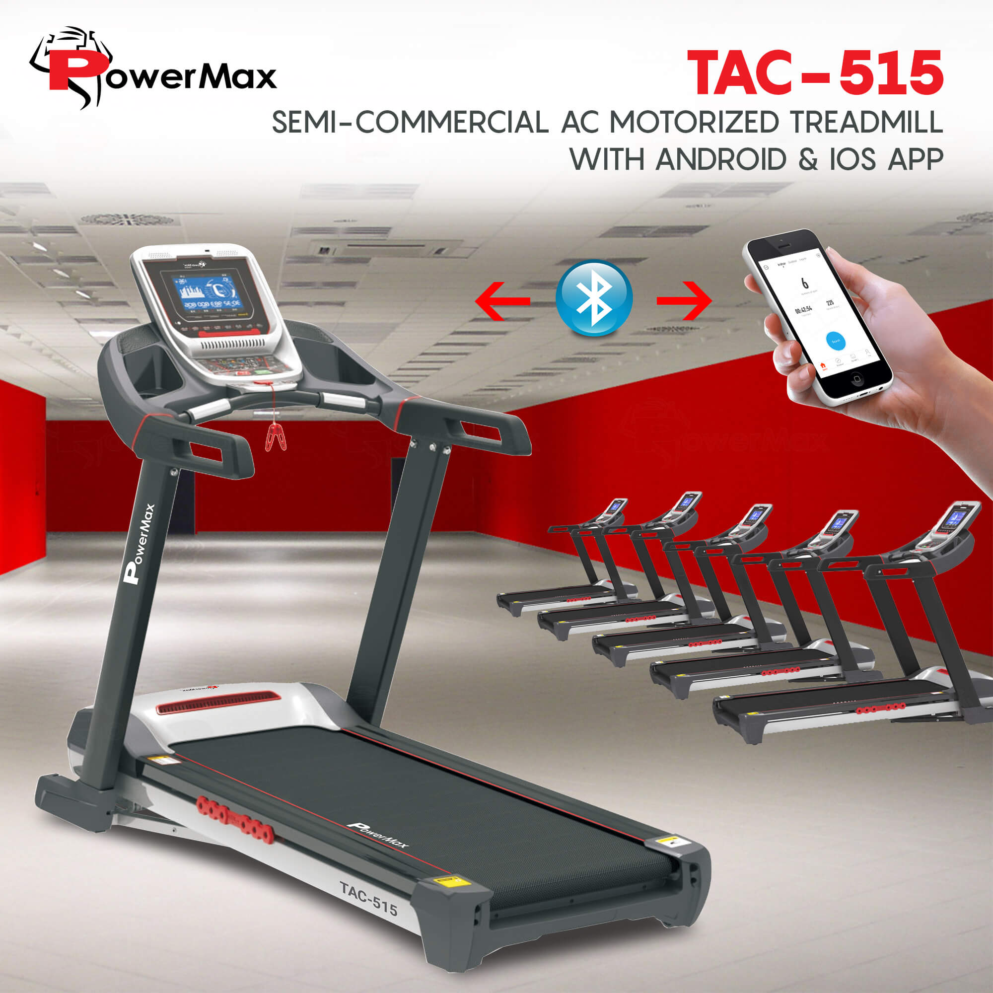 TAC-515 Commercial Motorized AC Treadmill with Android & iOS App