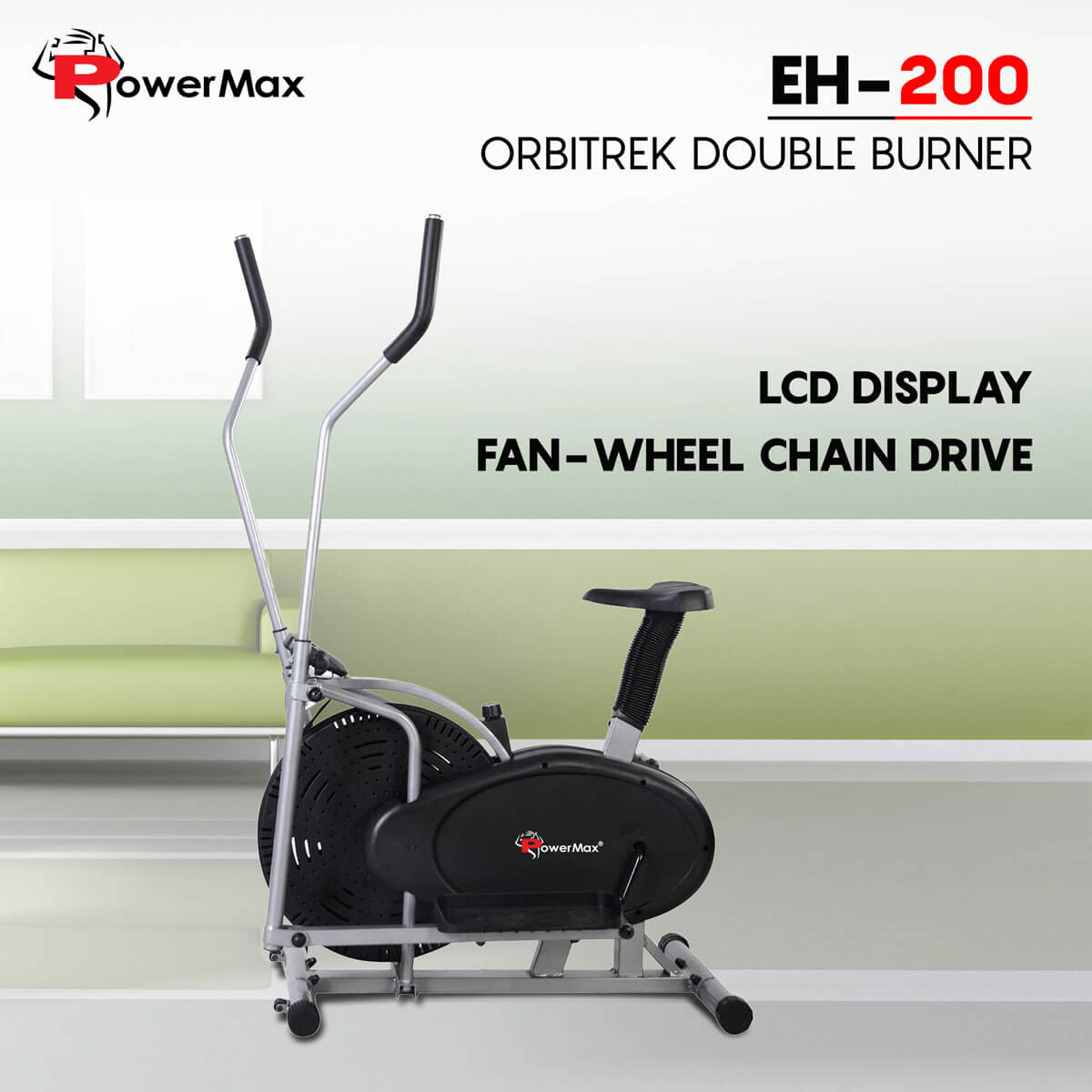 Elliptical cross trainer with hand pulse