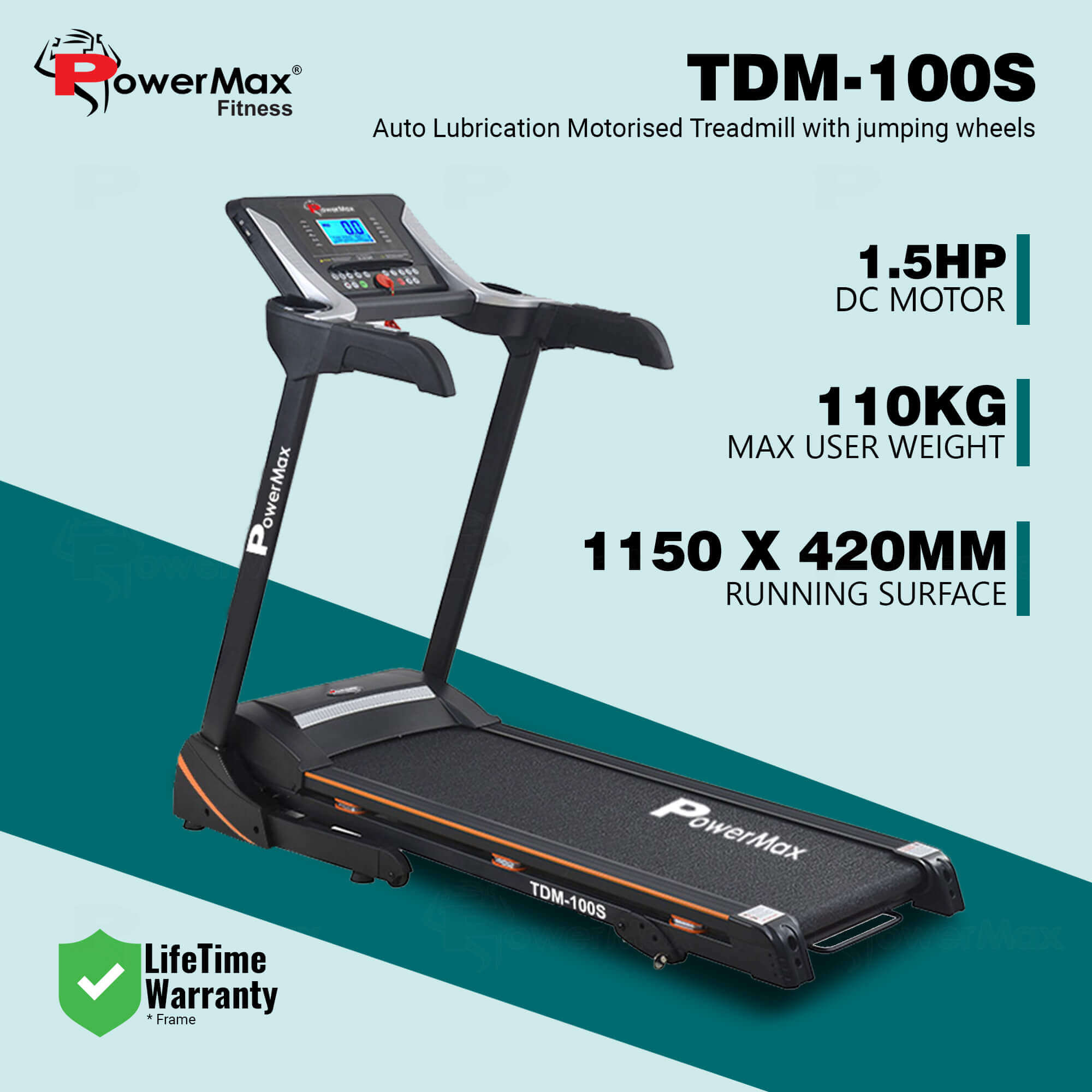 Powermax Fitness TDM-100S-V2 (1.5HP) Motorized Treadmill with Jumping Wheel & Auto Lubrication