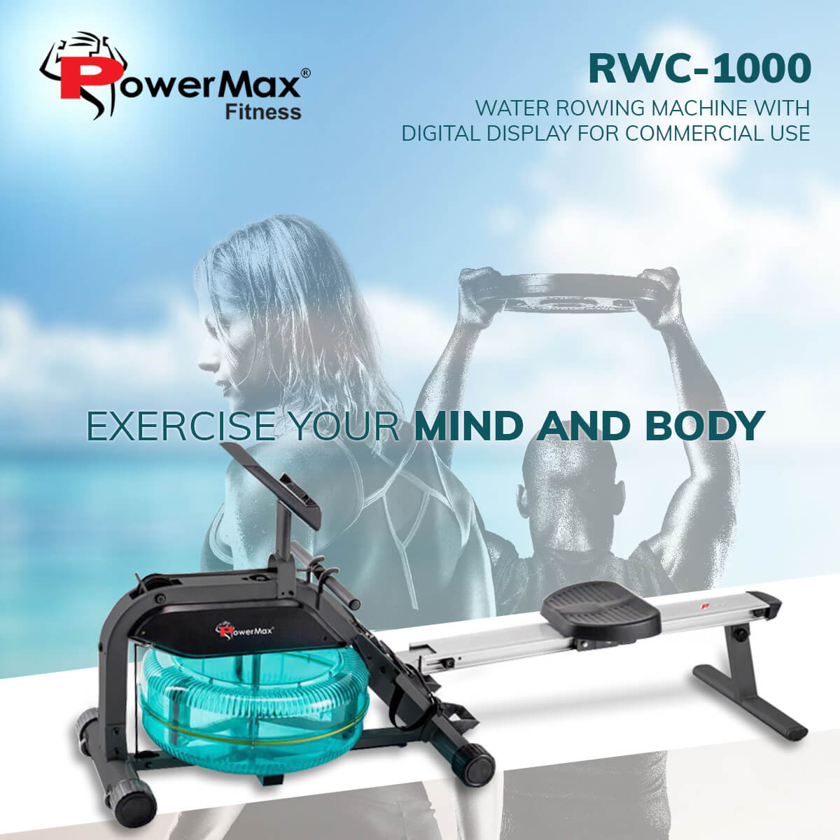 PowerMax Fitness RWC-1000 Water Rowing Machine with Digital Display for Commercial use