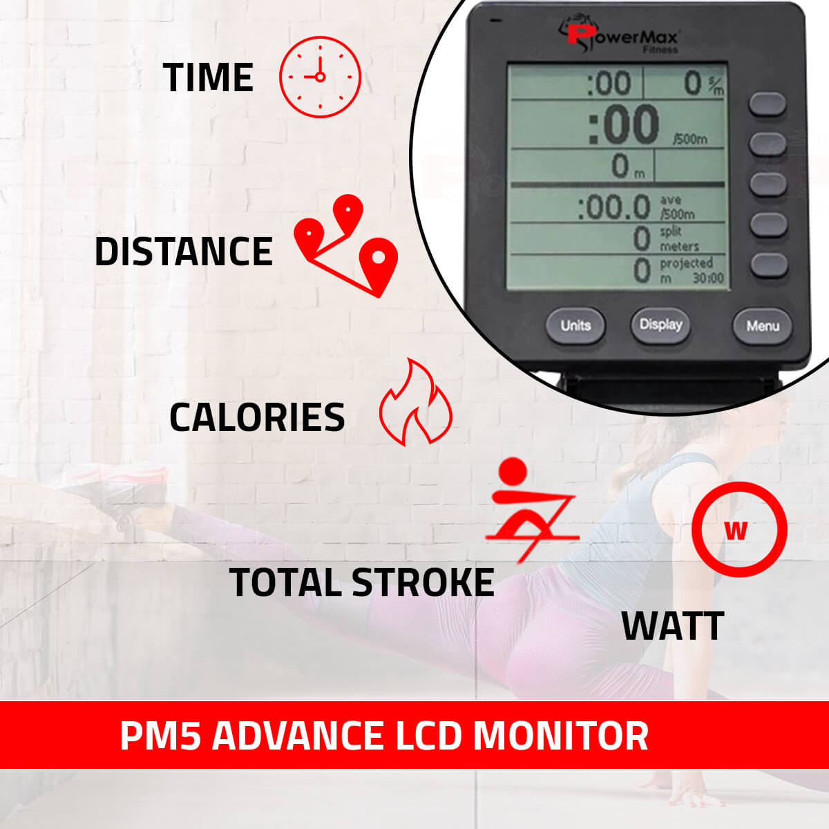 RAC-2500 Air Rowing Machine with PM5 Advanced Functional Display for Commercial use