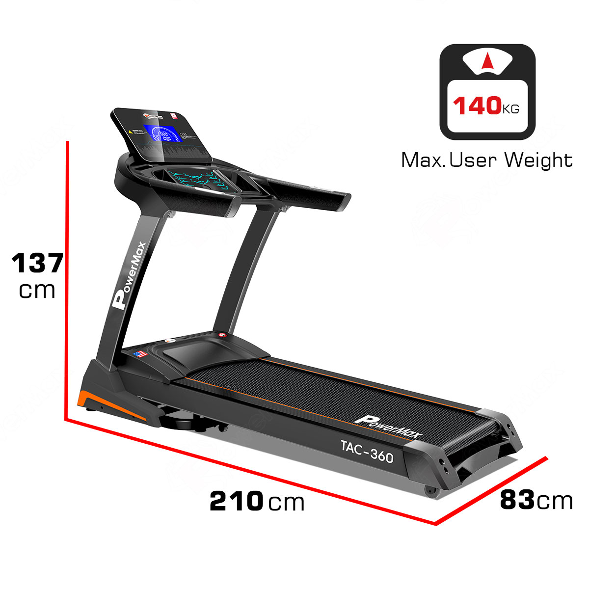 PowerMax Fitness TAC-360 AC Motorized Treadmill with Auto Incline and Auto lubrication