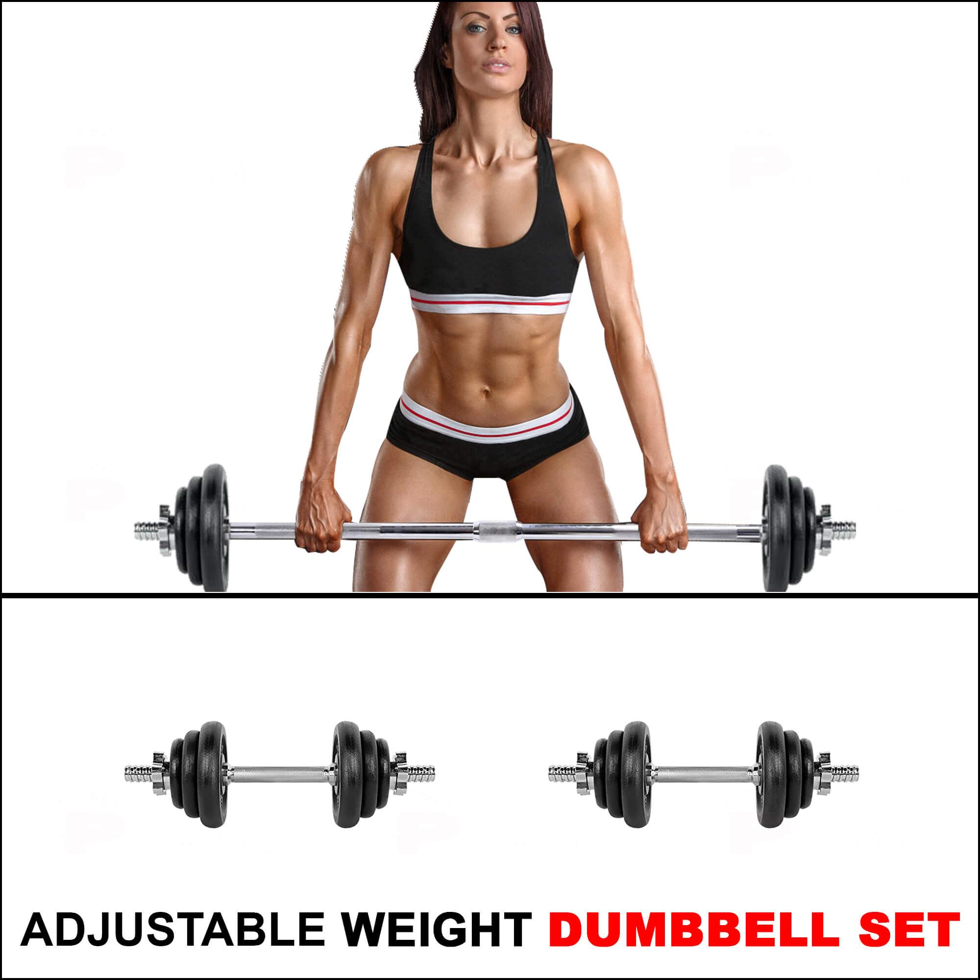 PDS-50Kg Dumbbells Set Metal Plates + Dumbbell Rods Home Gym