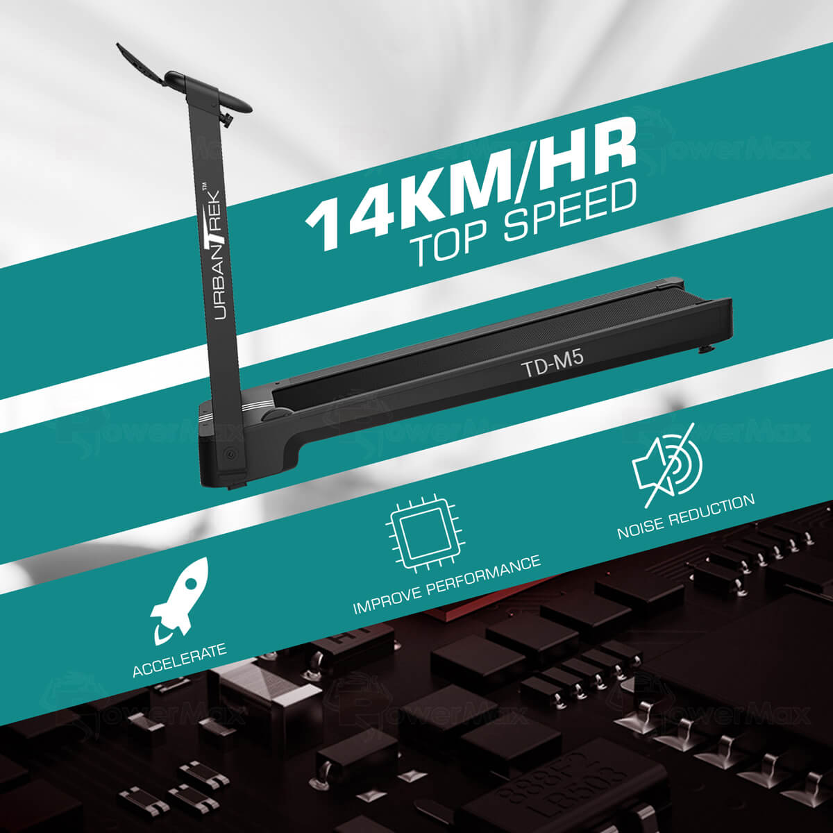 UrbanTrek TD-M5 Installation Free Treadmill with Bluetooth music function