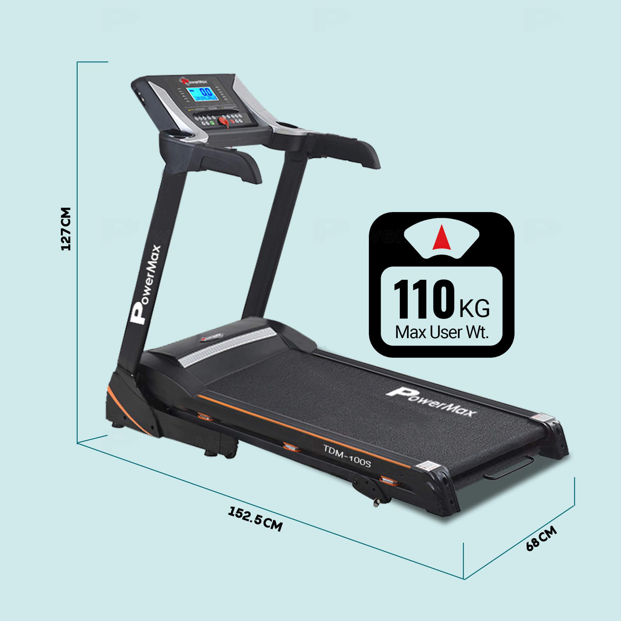 Powermax Fitness TDM-100S-V2 (1.5HP) Motorized Treadmill with Jumping Wheel & Auto Lubrication