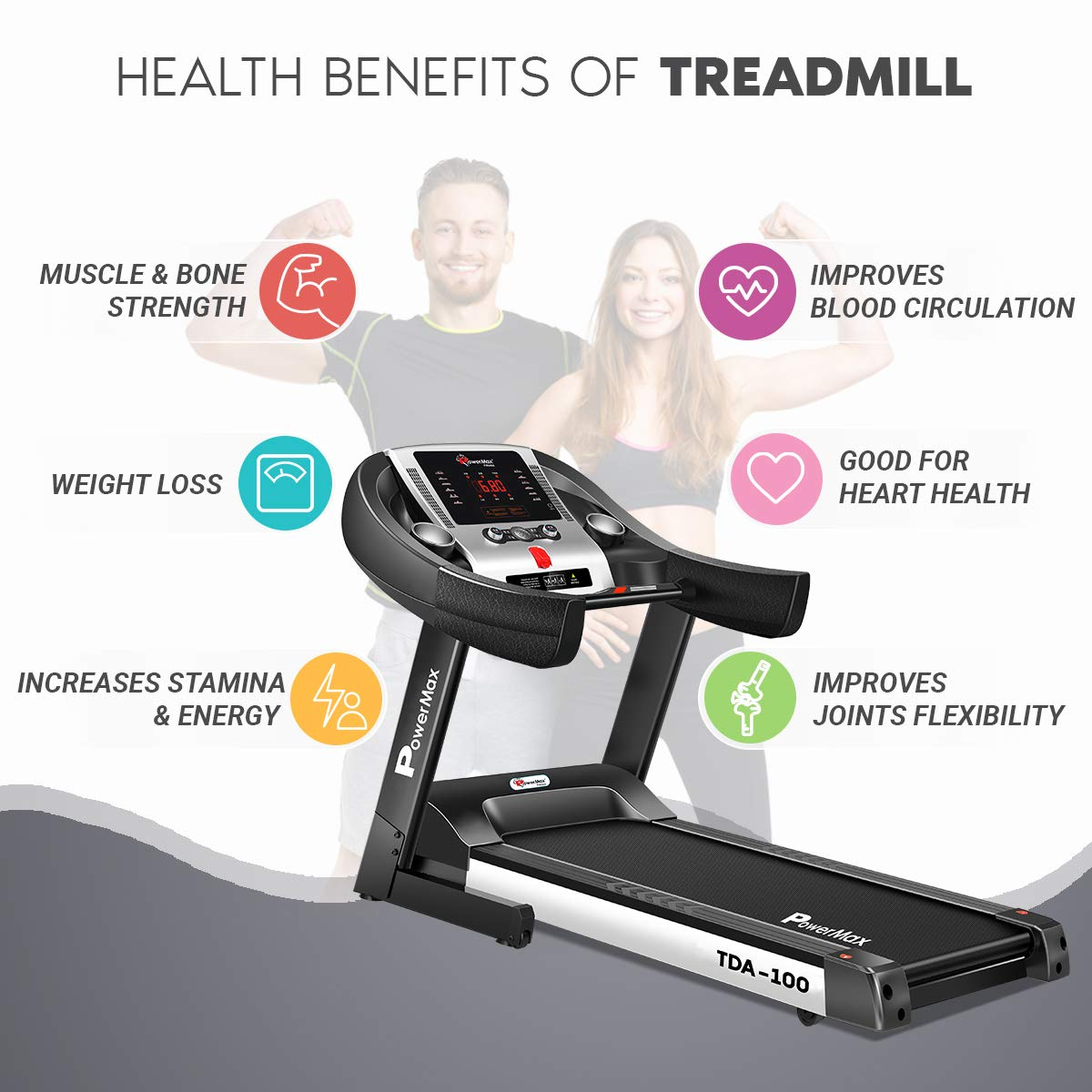 PowerMax Fitness TDA-100 Semi Auto lubrication Motorized Treadmill with Auto Incline