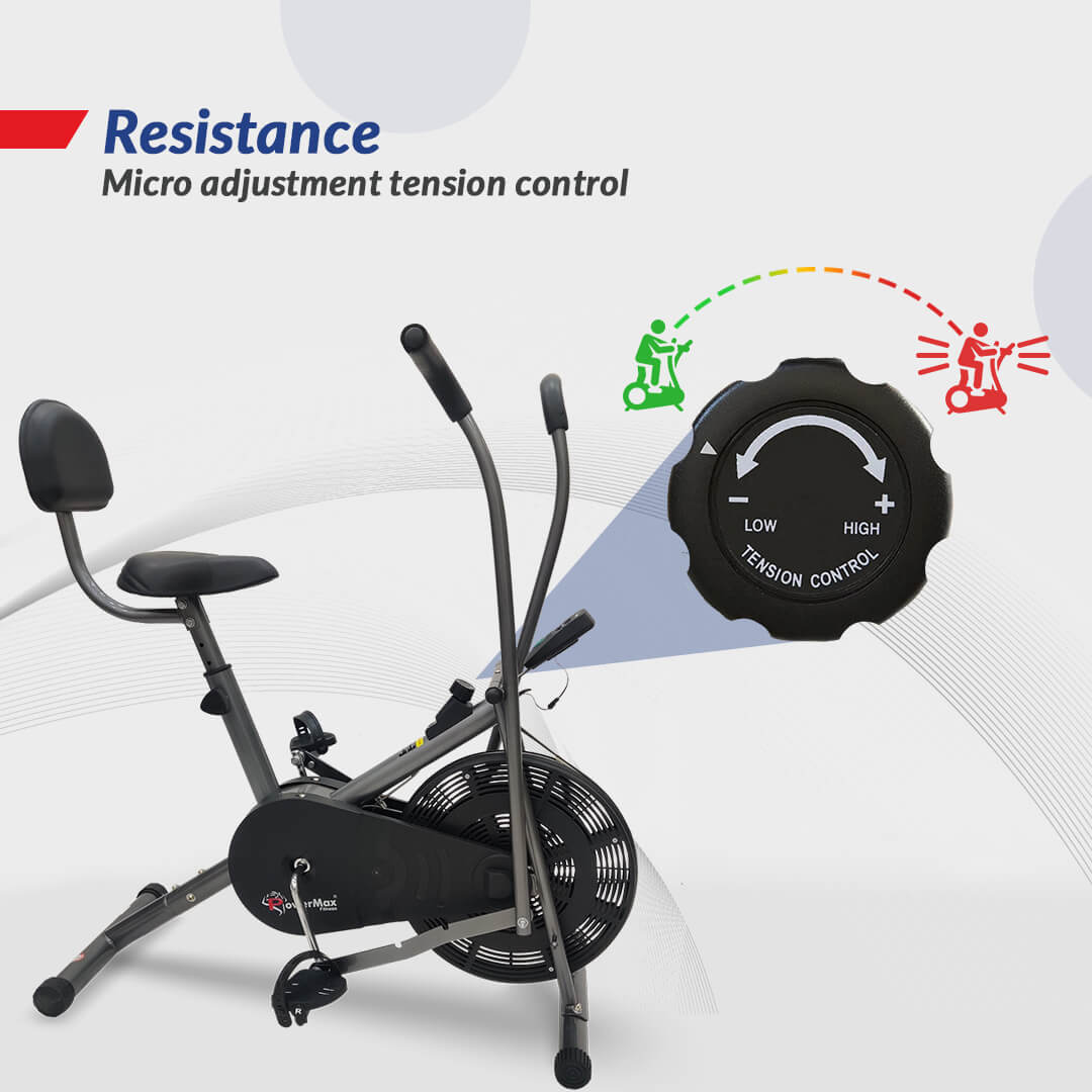 PowerMax Fitess BU-201 Dual Action Air Bike/Exercise Bike with Back Support System for Home Workout