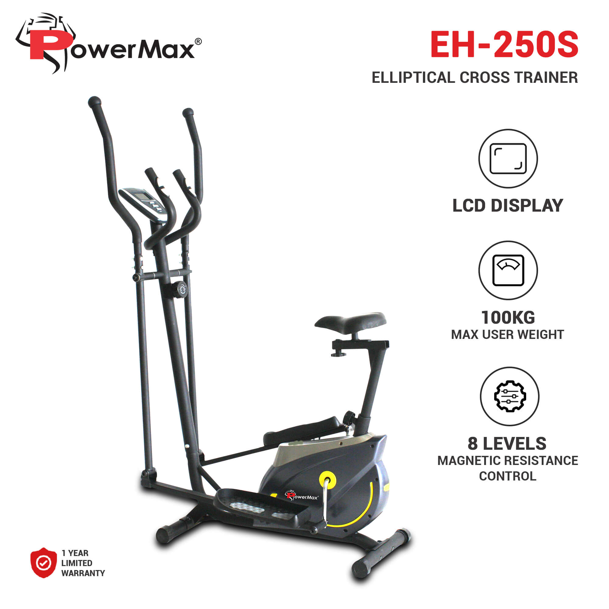 PowerMax Fitness EH-250S Elliptical Cross Trainer with Adjustable Seat