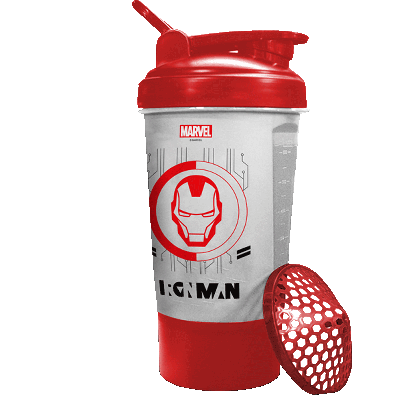 MSB-6S-IM-CLEAR (600ml) IRONMAN Marvel Edition Protein Shaker Bottle with Single Storage
