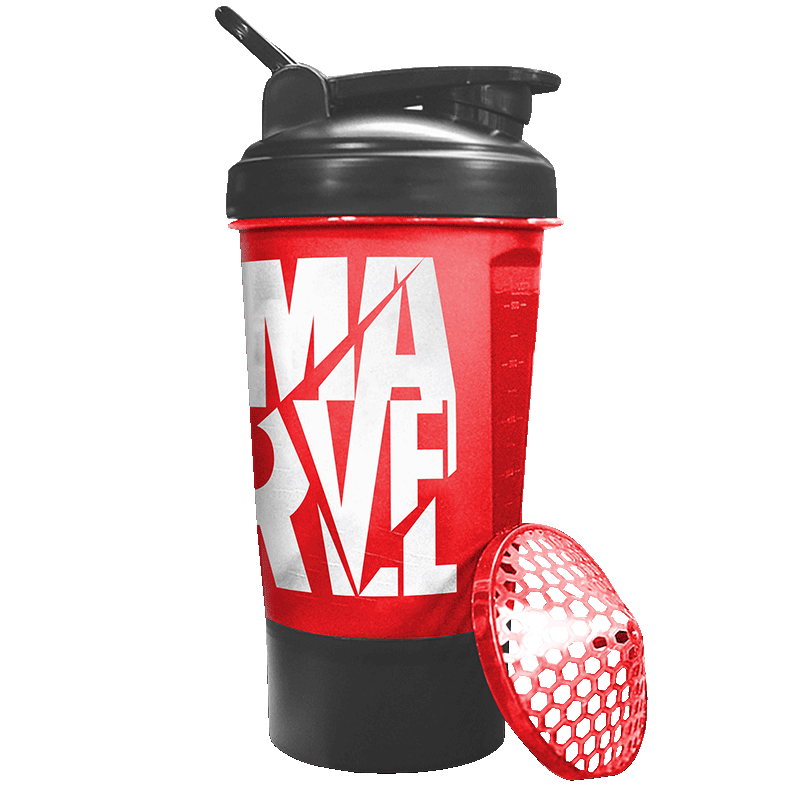 MSB-6S-M-RED (600ml) Marvel Protein Shaker Bottle with Single Storage