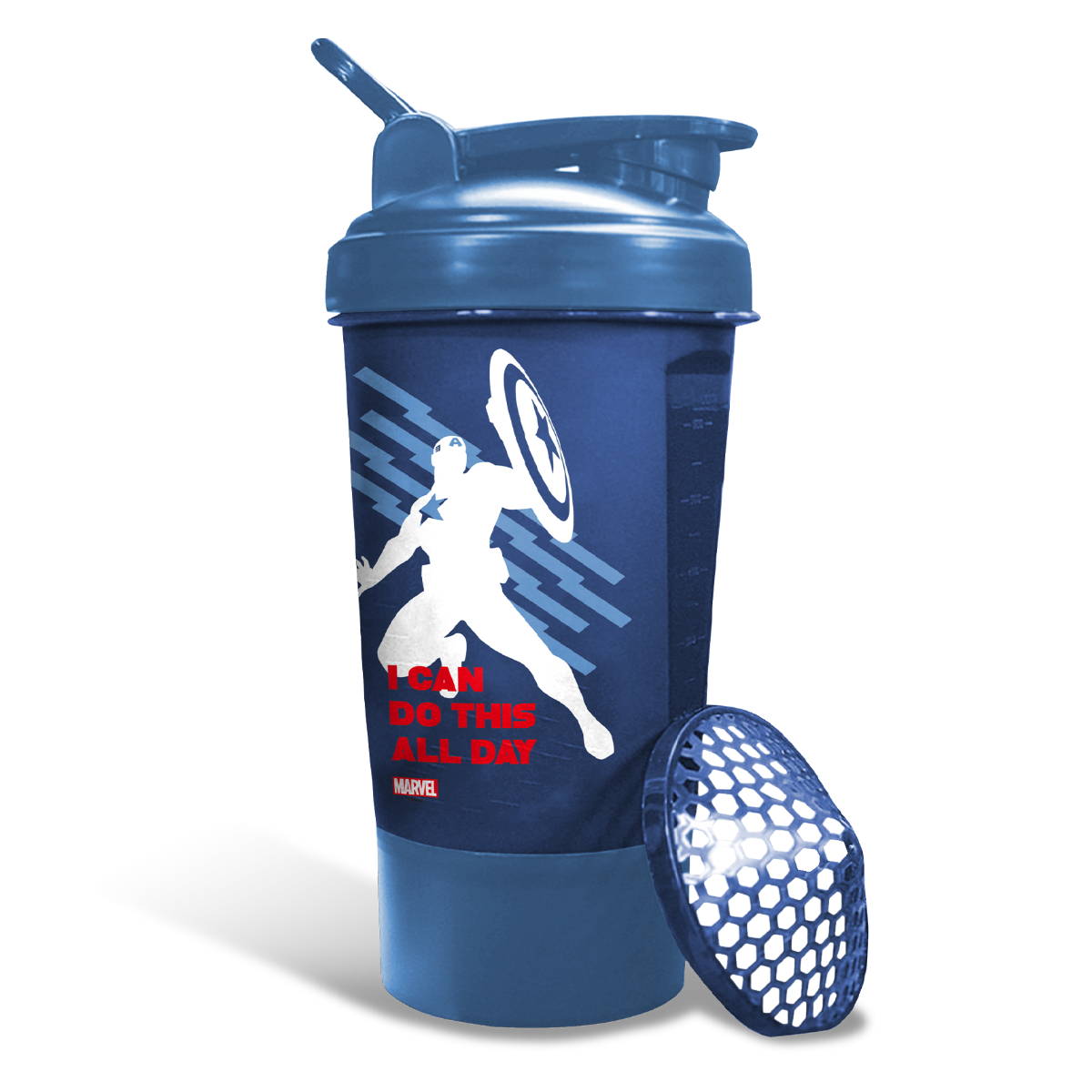 MSB-6S-CA-BLUE (600ml) Captain America Marvel Edition Protein Shaker Bottle with Single Storage