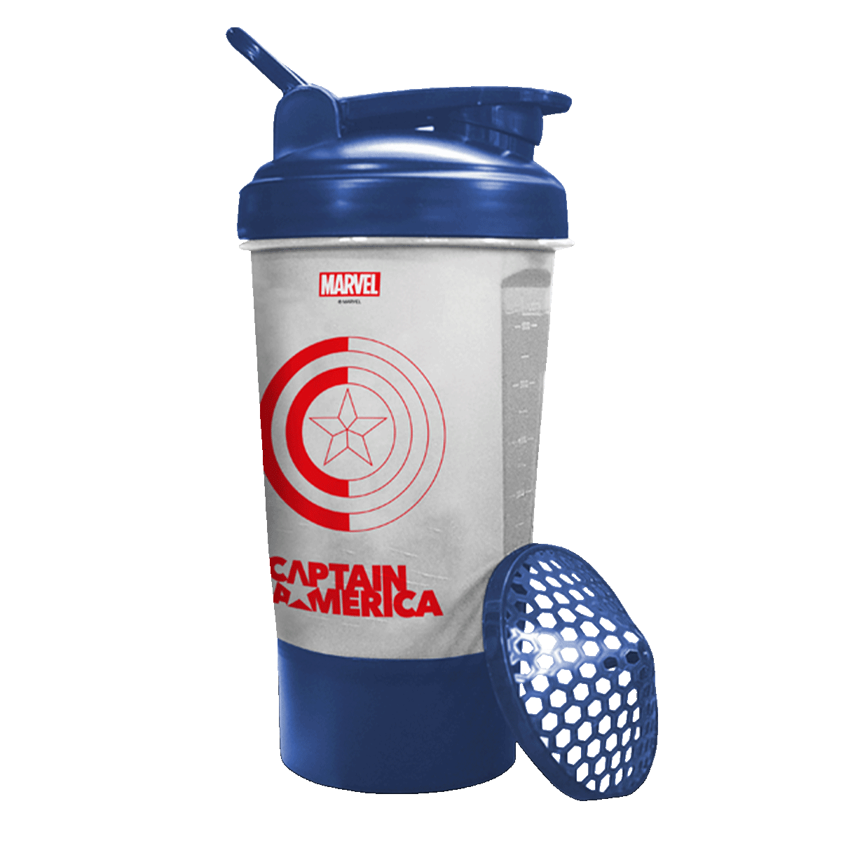 MSB-6S-CA-CLEAR (600ml) Captain America Marvel Edition Protein Shaker Bottle with Single Storage