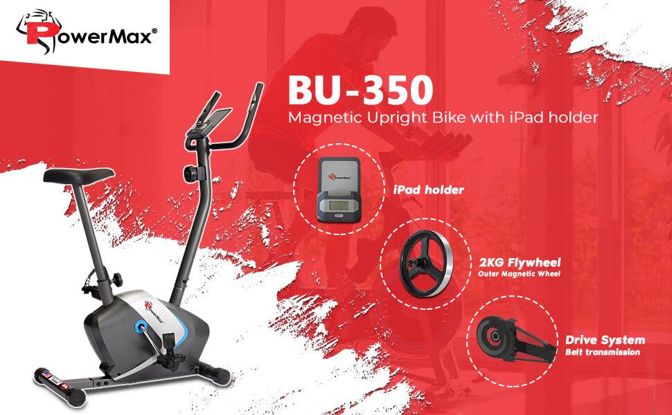 PowerMax Fitness BU-350 Magnetic Upright Exercise Bike