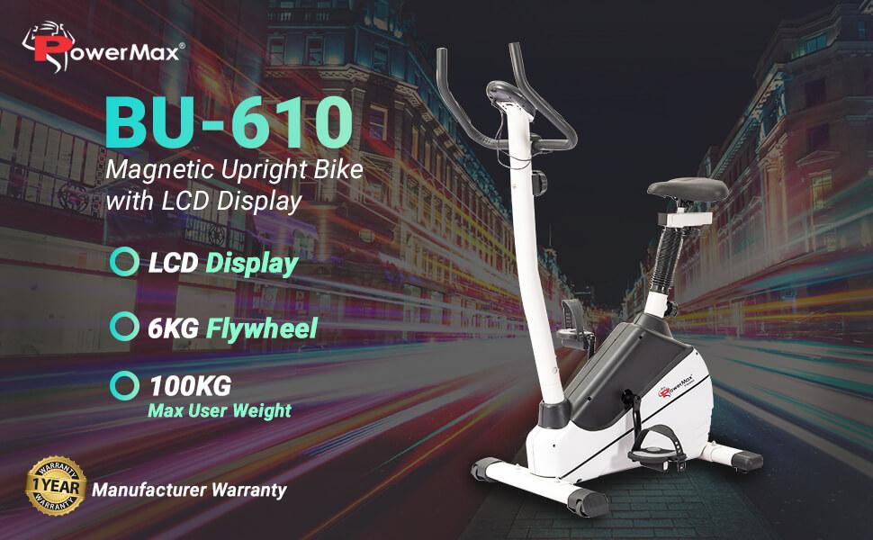 PowerMax Fitness BU-610 Magnetic Upright Exercise Bike
