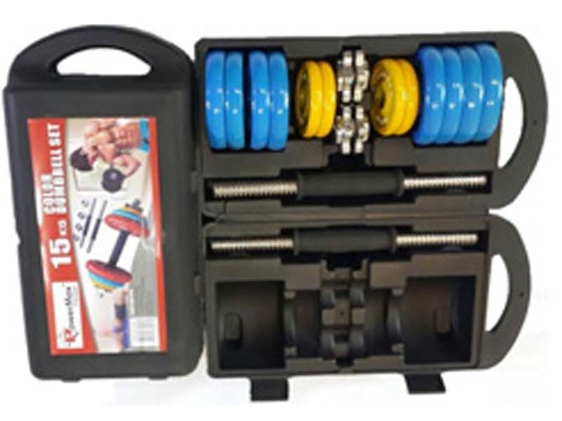 <b>PDSC-15KG</b> Dumbbells Set Metal Plates + Dumbbell Rods Home Gym