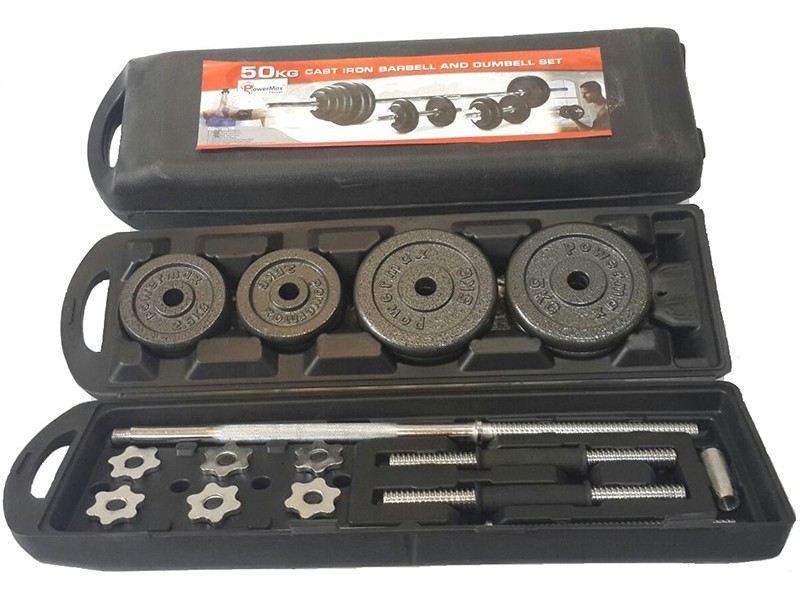 <b>PDS-50Kg</b> Dumbbells Set Metal Plates + Dumbbell Rods Home Gym